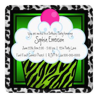 "Lime Green Zebra Girls Cupcake Birthday Party 5.25"" Square Invitation Card"