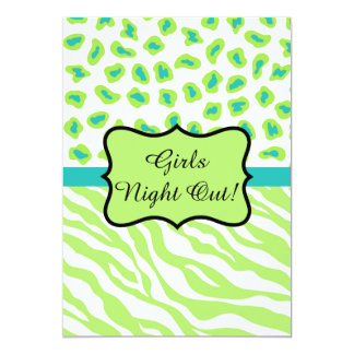 Lime Green Zebra Leopard Girls Night Out Party Card