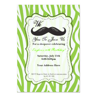 Lime Green Zebra Mustache Birthday Party Invite