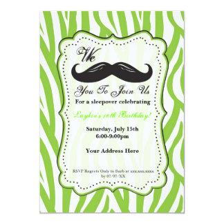 Lime Green Zebra Mustache Birthday Party Invite