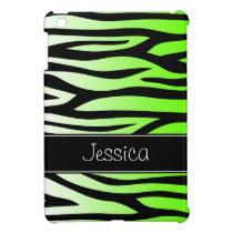 Lime Green Zebra Personalized iPad Mini Case