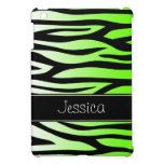 Lime Green Zebra Personalized iPad Mini Covers