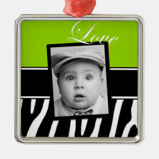 Lime Green Zebra Photo Ornament