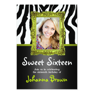 Lime Green Zebra - Photo - Sweet 16 Invitation