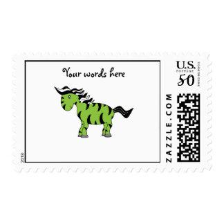 Lime green zebra postage