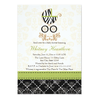 Lime Green Zebra Print Baby Carriage Baby Shower Card