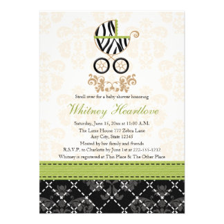 Lime Green Zebra Print Baby Carriage Baby Shower Custom Announcement