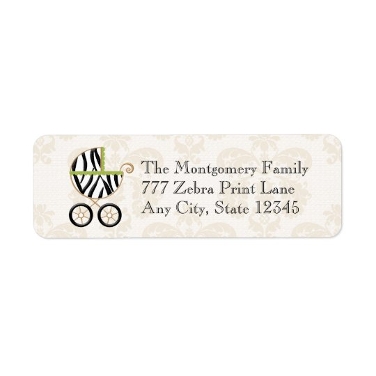Lime Green Zebra Print Baby Carriage Label