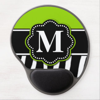 Lime Green Zebra Print Monogram Mousepad Gel Mouse Pad