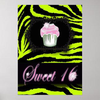 Lime green zebra print Pink Cupcake Sweet Sixteen