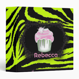 Lime green zebra print Pink Cupcake Sweet Sixteen 3 Ring Binder