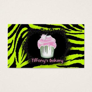Lime green zebra print Pink Cupcake Sweet Sixteen Business Card