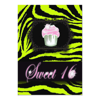 Lime green zebra print Pink Cupcake Sweet Sixteen Card