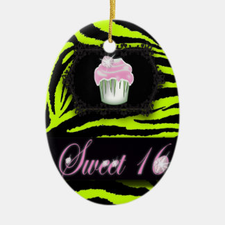 Lime green zebra print Pink Cupcake Sweet Sixteen Ceramic Ornament