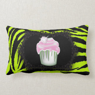 Lime green zebra print Pink Cupcake Sweet Sixteen Lumbar Pillow