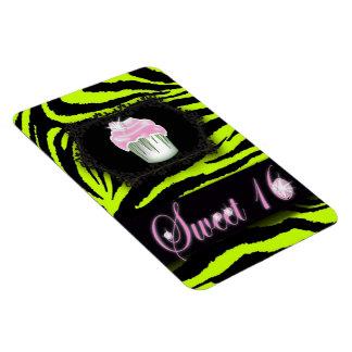 Lime green zebra print Pink Cupcake Sweet Sixteen Magnet