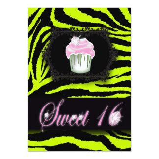 Lime Green Zebra Print Sweet 16 Party Invitation