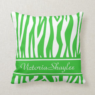Lime Green Zebra Print with custom text Throw Pillow
