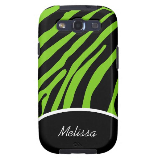 Lime Green Zebra Stripe Custom Android Phone Case Samsung Galaxy SIII Cases