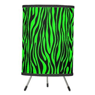 Lime Green Zebra Tripod Lamp