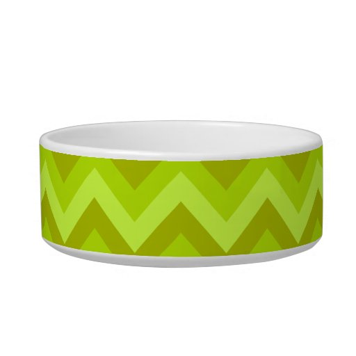 Lime Green Zig Zag Pattern. Cat Bowls