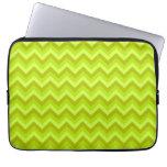 Lime Green Zig Zag Pattern. Laptop Sleeves