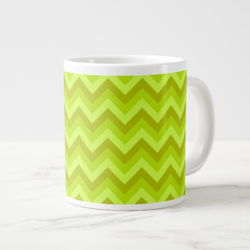 Lime Green Zig Zag Pattern. 20 Oz Large Ceramic Coffee Mug