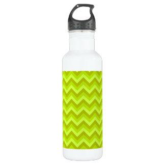 Lime Green Zig Zag Pattern. Water Bottle
