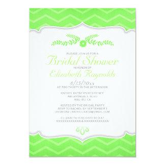 Lime Green Zigzag Bridal Shower Invitations Custom Invitation