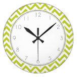 Lime Green Zigzag Stripes Pattern Wall Clock