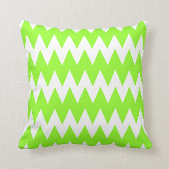 Lime Green Zigzags. Throw Pillow