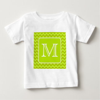 Lime Green Zigzags with Custom Monogram. Baby T-Shirt
