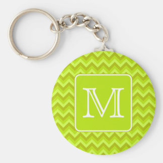 Lime Green Zigzags with Custom Monogram. Basic Round Button Keychain