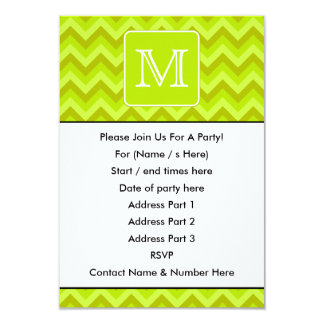 Lime Green Zigzags with Custom Monogram. Card