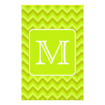 Lime Green Zigzags with Custom Monogram. Flyer