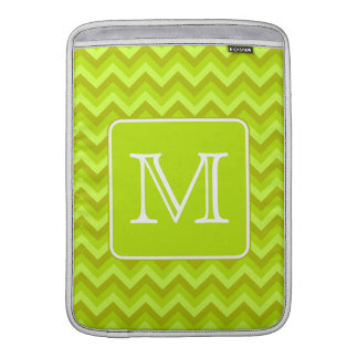 Lime Green Zigzags with Custom Monogram. MacBook Air Sleeve