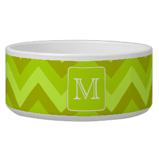 Lime Green Zigzags with Custom Monogram. Pet Food Bowls