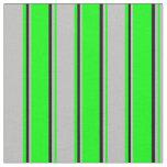 [ Thumbnail: Lime, Grey & Black Stripes Fabric ]