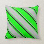 [ Thumbnail: Lime, Grey & Black Stripes Throw Pillow ]