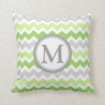 Lime Grey Chevron Monogram Decorative Pillow
