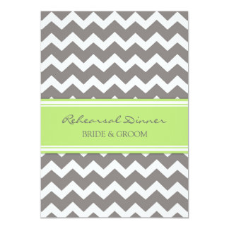Lime Grey Chevron Rehearsal Dinner Party 5x7 Paper Invitation Card
