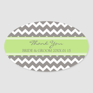 Lime Grey Chevron Thank You Wedding Favor Tags Oval Sticker