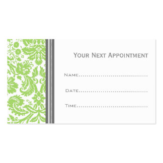 Lime Grey Damask Salon Appointment Cards Business Cards