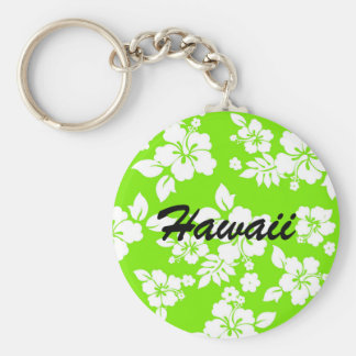 Lime Hawaiian Basic Round Button Keychain