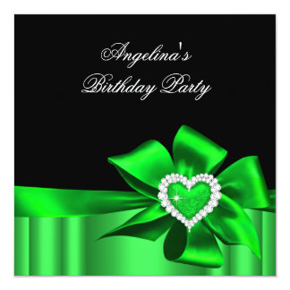 Lime Heart Black Birthday Party Bow Image Card