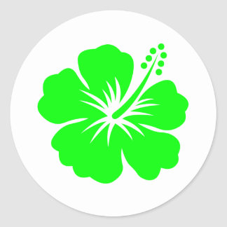 Lime hibiscus flower classic round sticker
