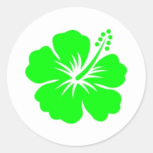 Lime hibiscus flower round sticker