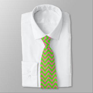 Lime, Hot Pink #2 LG Chevron ZigZag Pattern Neck Tie