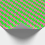 [ Thumbnail: Lime & Hot Pink Colored Pattern of Stripes Wrapping Paper ]
