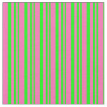[ Thumbnail: Lime & Hot Pink Pattern of Stripes Fabric ]